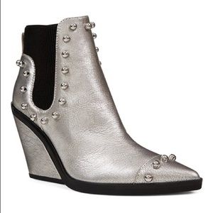Nine West Zone Out Booties in Silver